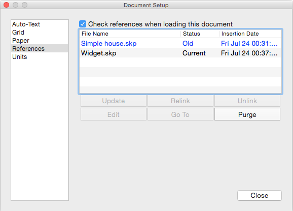 In LayOuts Document Setup dialog box, outdated references are highlighted in blue.