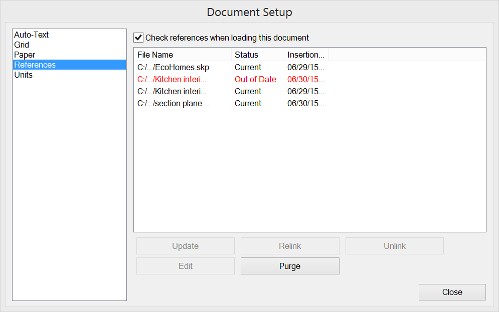 In LayOuts Document Setup dialog box, outdated references are highlighted in red.