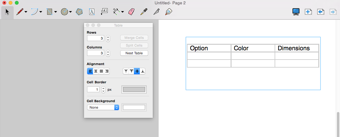 In LayOut for Mac OS X, you can insert tables into a text box.