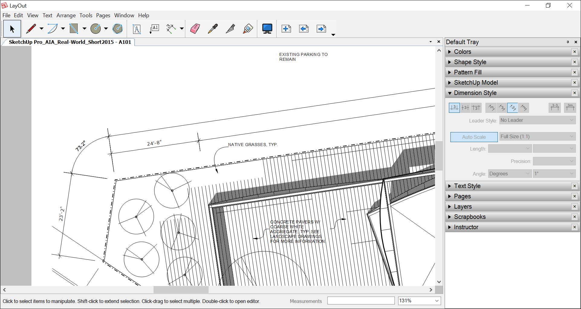 In LayOut, linear or angular dimensions can display distances and angles based on data from SketchUp model entities