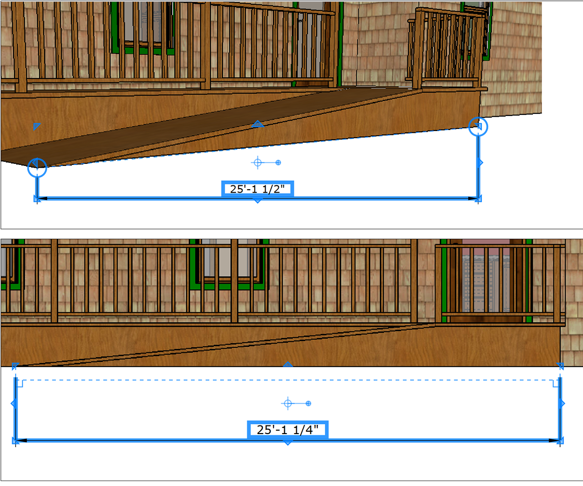 In LayOut, visual cues tell you whether a dimension marks a perspective view or an orthographic projected view