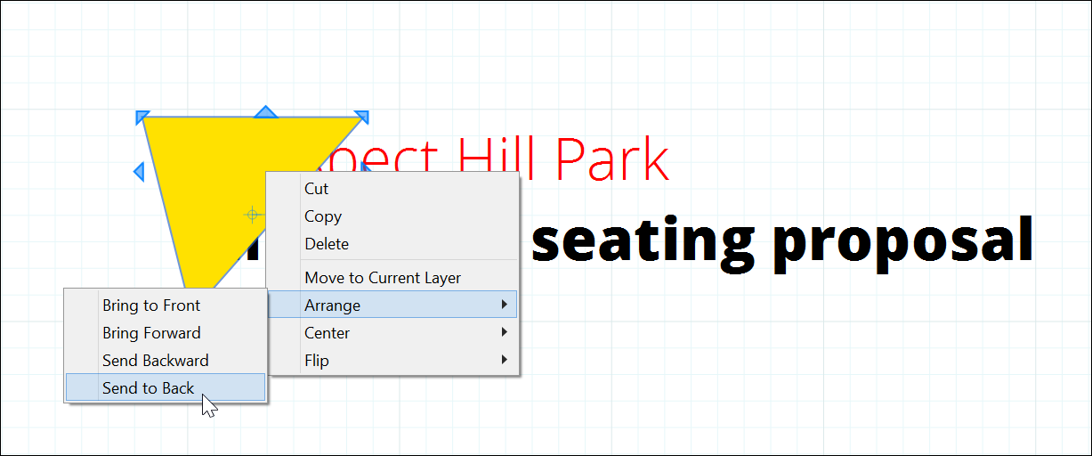 Use the Arrange menu or the context menu to change the stacking order of elements in a LayOut document.