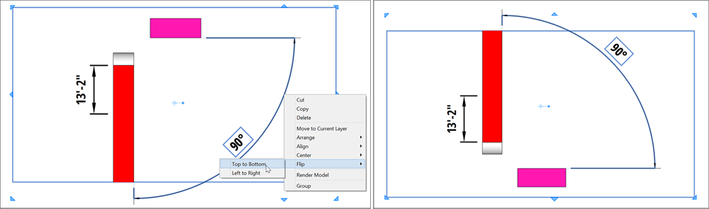 LayOut enables you to easily flip any entity from top to bottom or from left to right