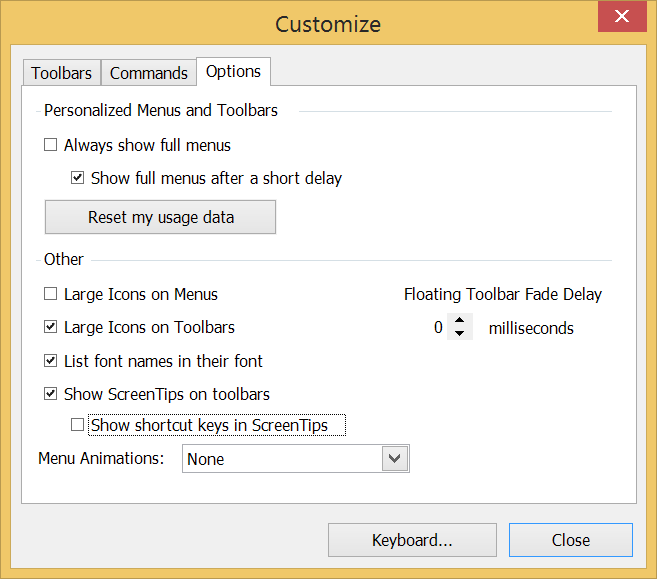 In LayOut for Microsoft Windows, you can select toolbar options on the Customize dialog boxs Options tab.