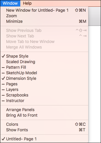 The Window menu in SketchUp for macOS