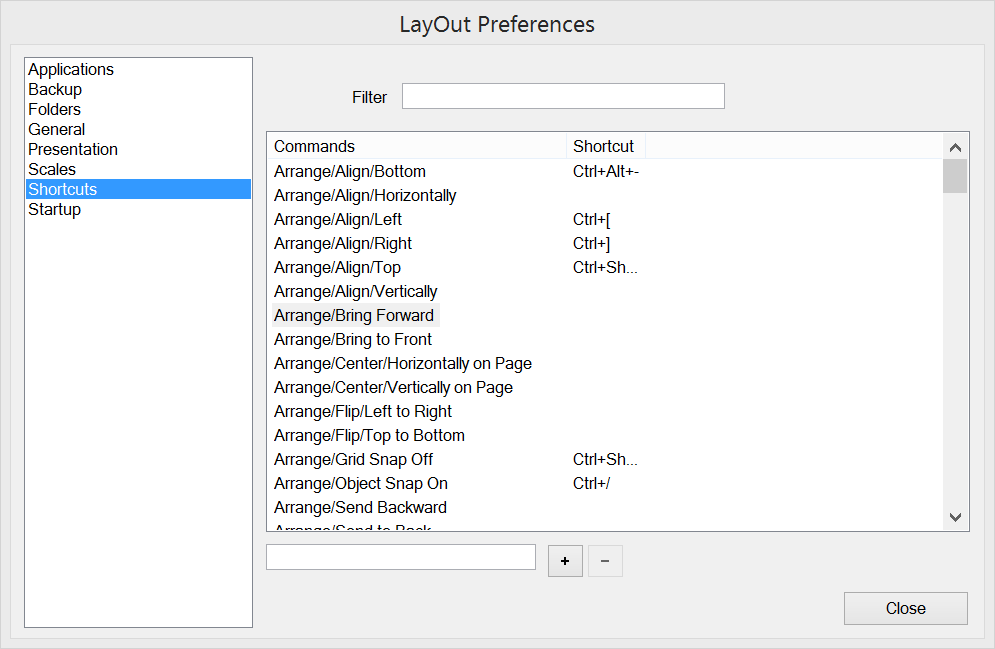 Customize LayOuts keyboard shortcuts in the Preferences dialog box.