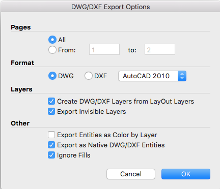 LayOuts DWG/DXF Export Options dialog box for Mac OS X