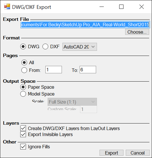 LayOuts DWG/DXF Export dialog box enables you to select options for exported files.