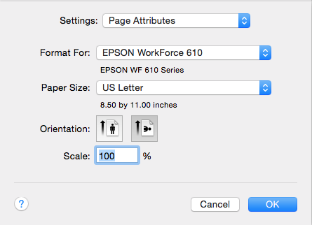 The page attributes options for printing a LayOut presentation from Mac OS X