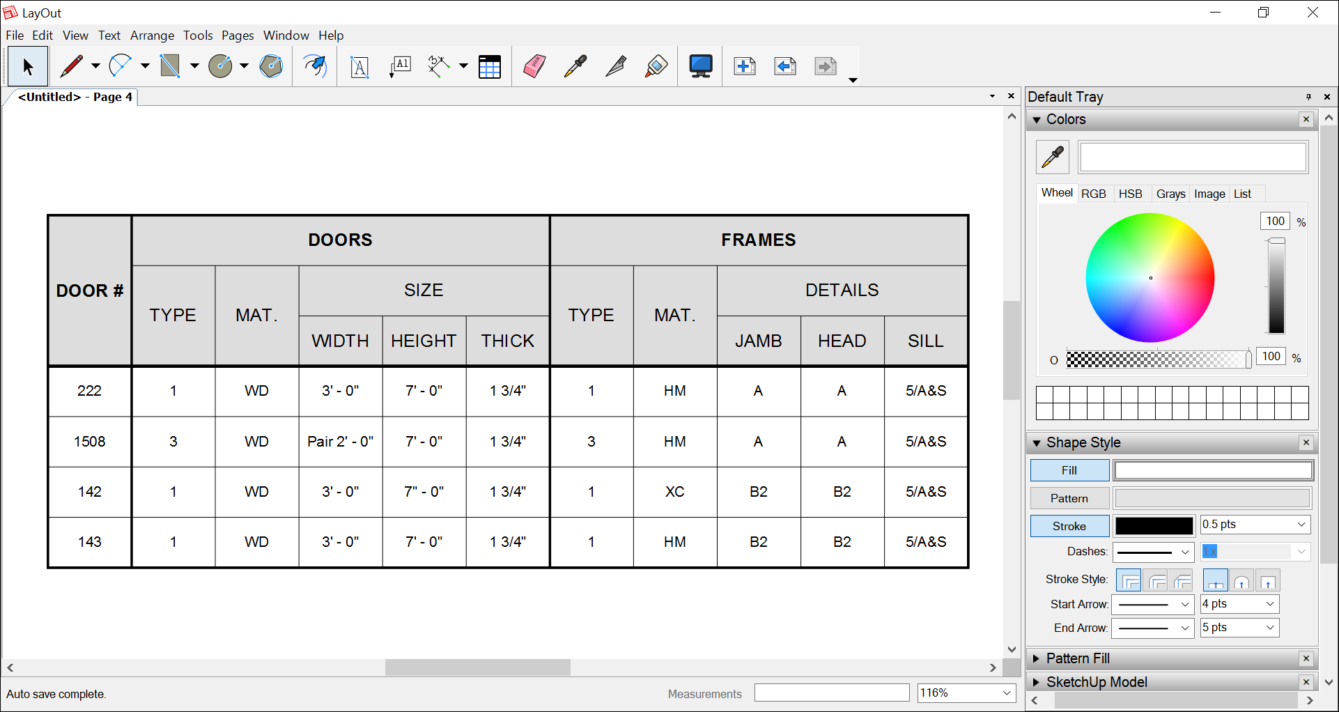 In LayOut, format grid lines. Or add a fill to a table or an individual cell