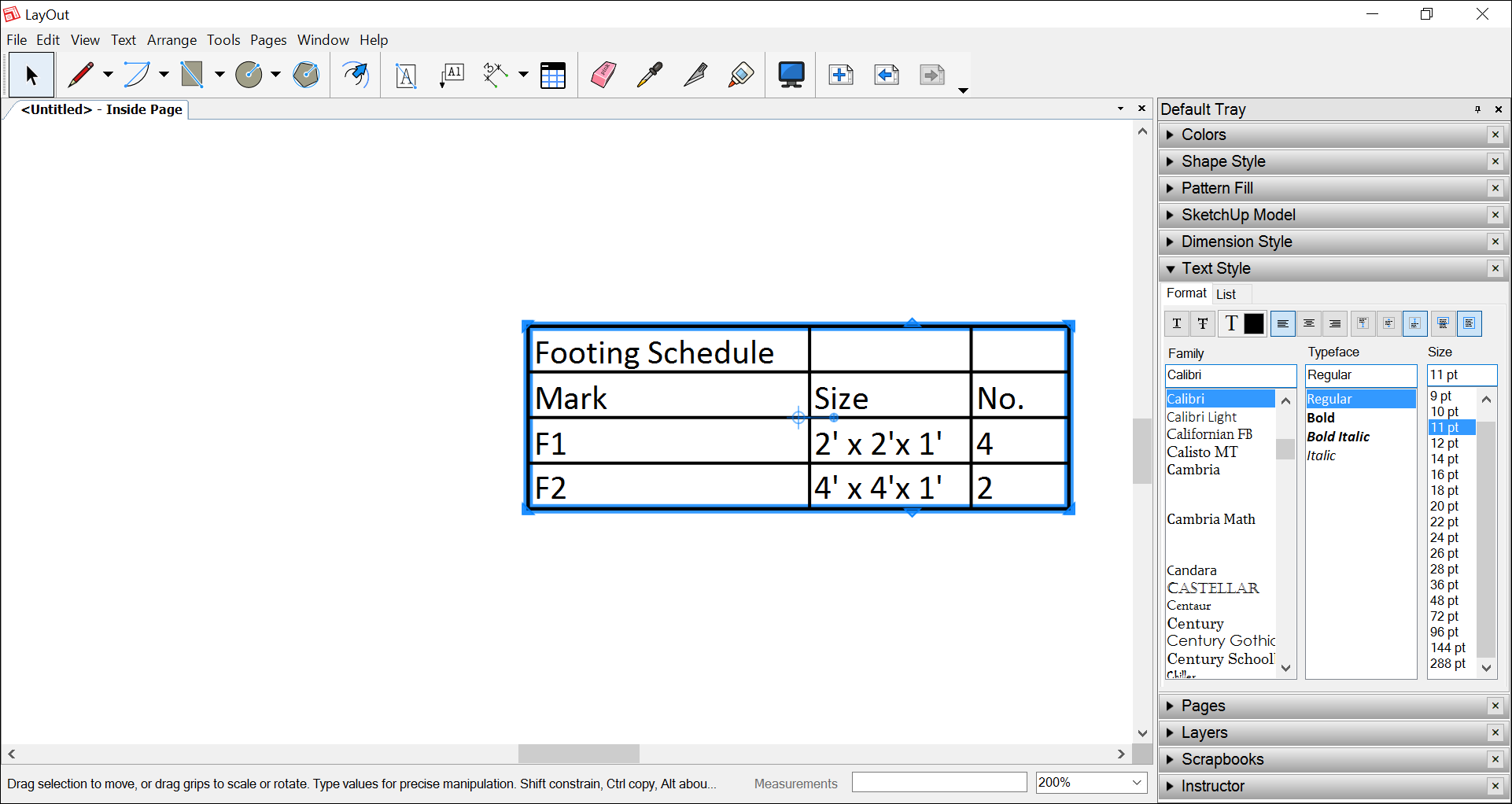In LayOut, you can insert data from a spreadsheet as a table entity