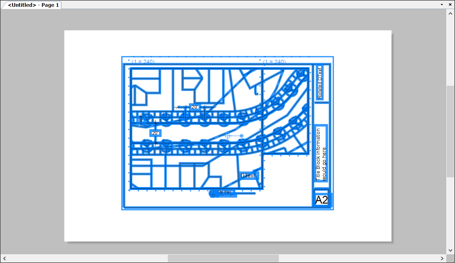 An example of CAD data imported into LayOut using the default settings for the Paper Space option
