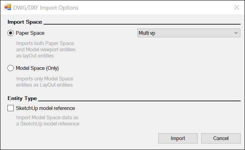 To import CAD files in LayOut, select options in the DWG/DXF Import Options dialog box