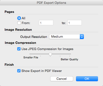 LayOuts PDF Export Options dialog box for Mac OS X