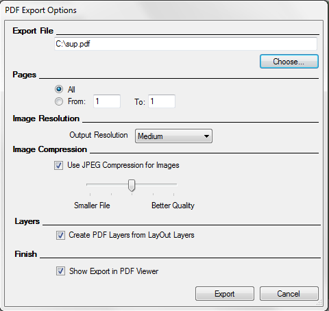 LayOuts PDF Export Options dialog box for Microsoft Windows