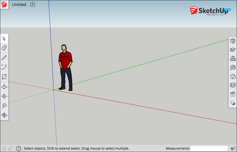 The my.SketchUp interface features tools and features similar to SketchUp Make and SketchUp Pro