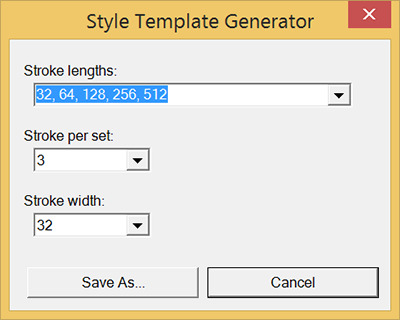 The Style Template Generator dialog box in Microsoft Windows