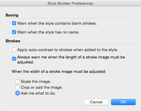 The Style Builder Preferences dialog box in Mac OS X