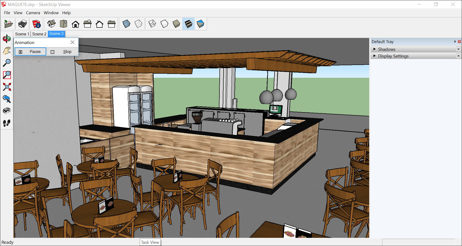 SketchUp Desktop Viewer enables you to play an animation