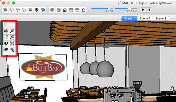 In Mac OS X, the SketchUp Desktop Viewer camera tools are on the Tool palette