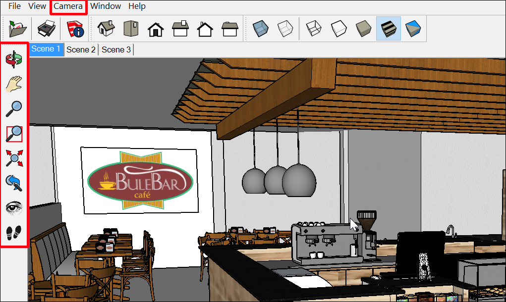 In Windows, the SketchUp Desktop Viewer camera tools are on the left side of the interface