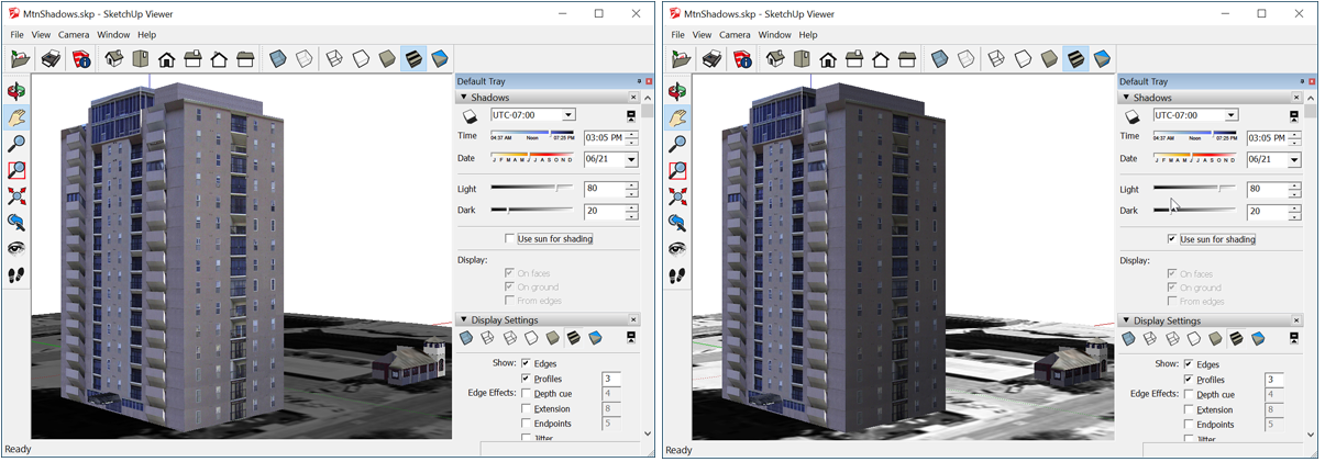 SketchUp Desktop Viewer enables you to see how the sun will cast shadows on a building