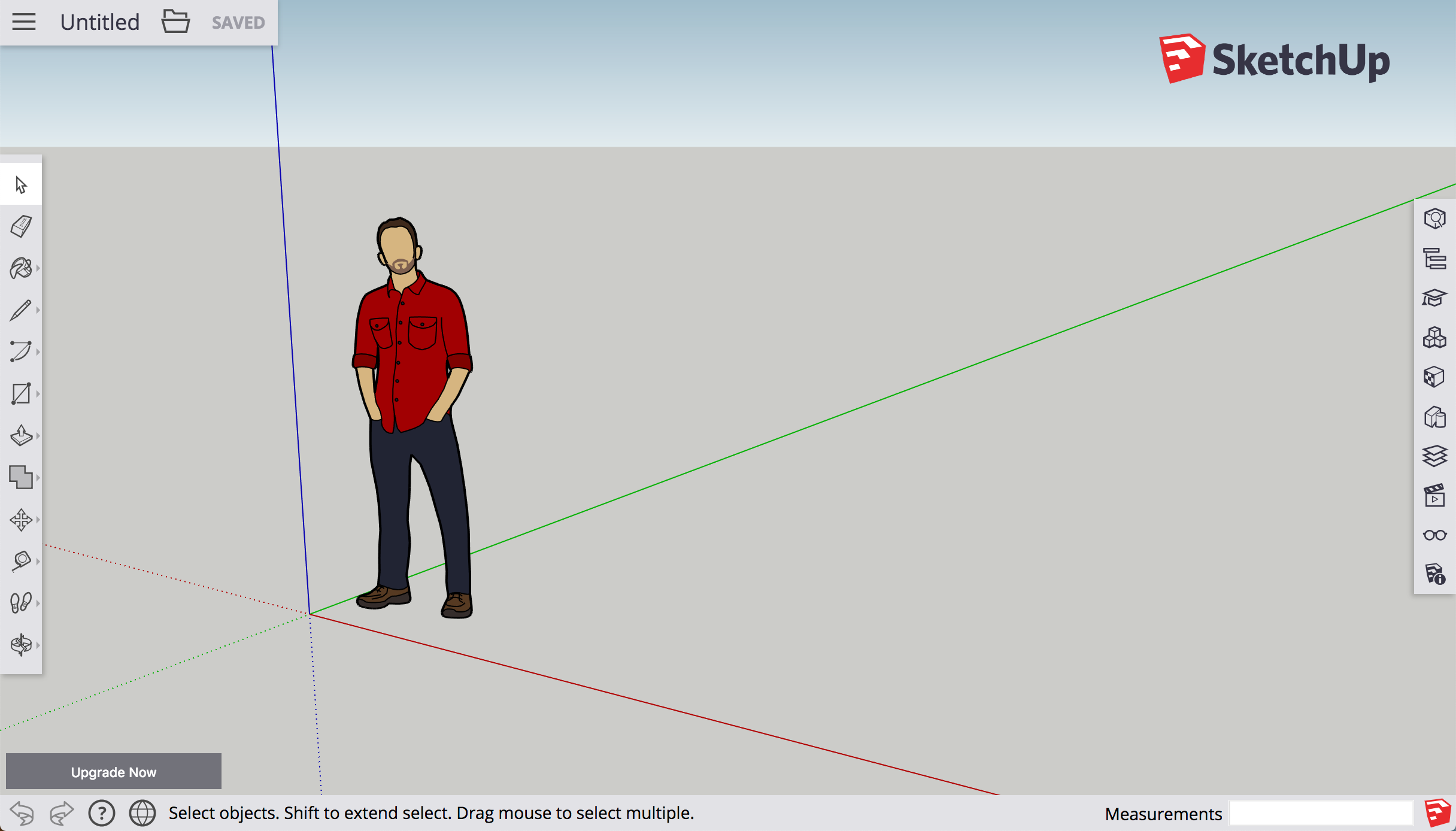 The SketchUp for Web interface offers drawing tools and features similar to SketchUp Pro