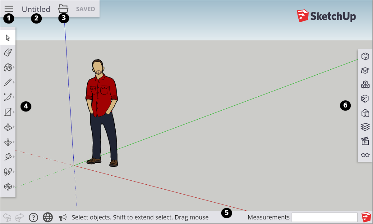 The SketchUp for Web interface features tools and features similar to SketchUp Make and SketchUp Pro