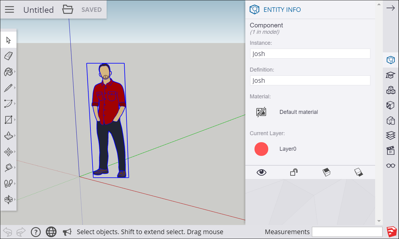 The Entity Info panel in SketchUp for Web