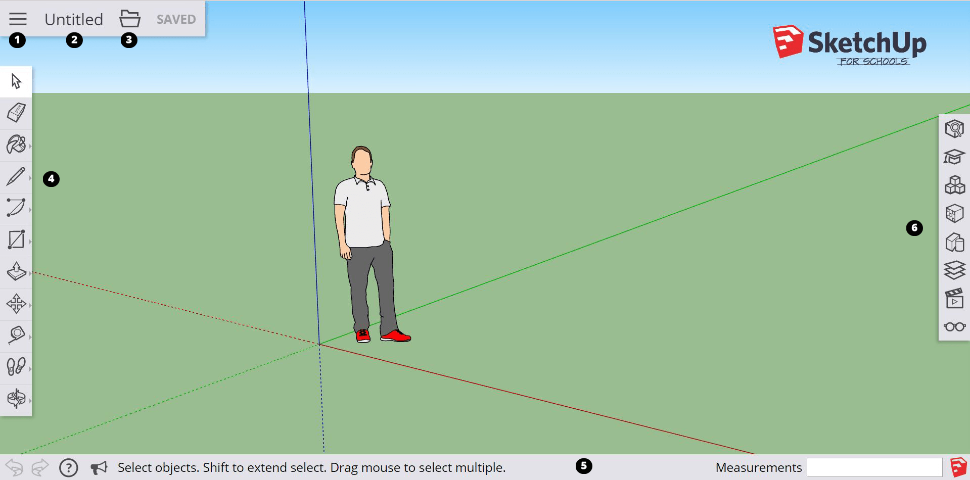 The modeling interface in SketchUp for Schools