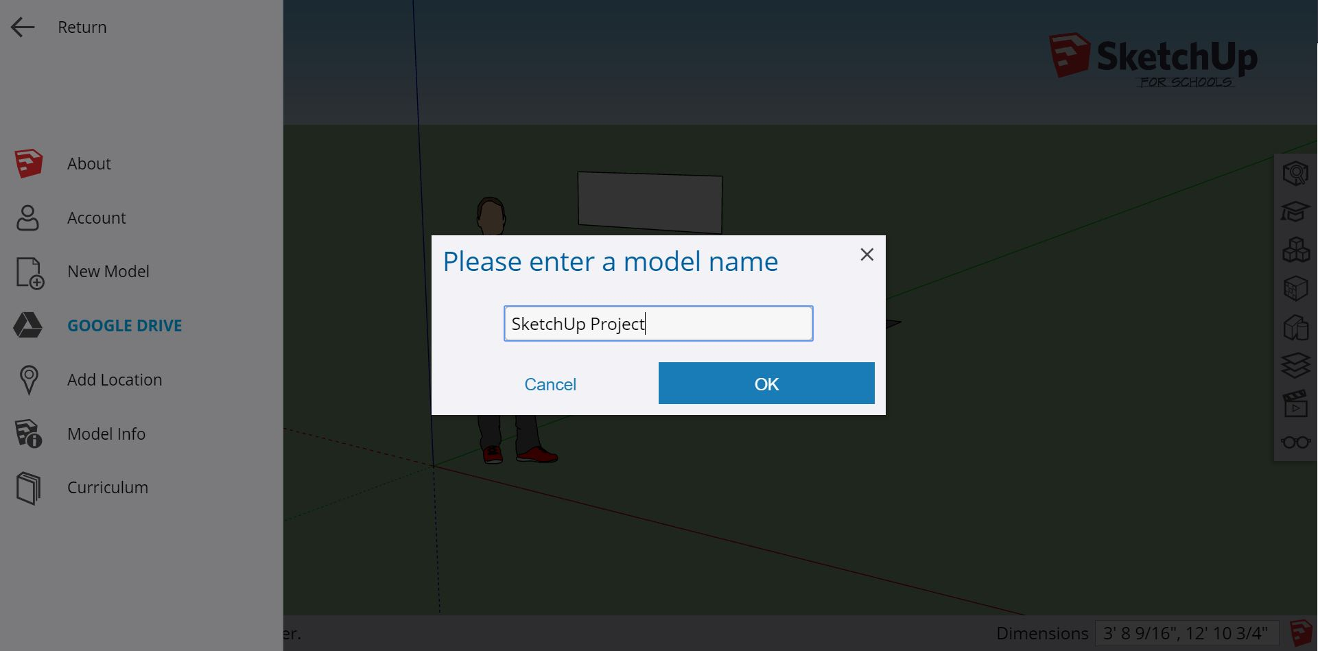 When you save a model, Google Drive prompts you for a model name