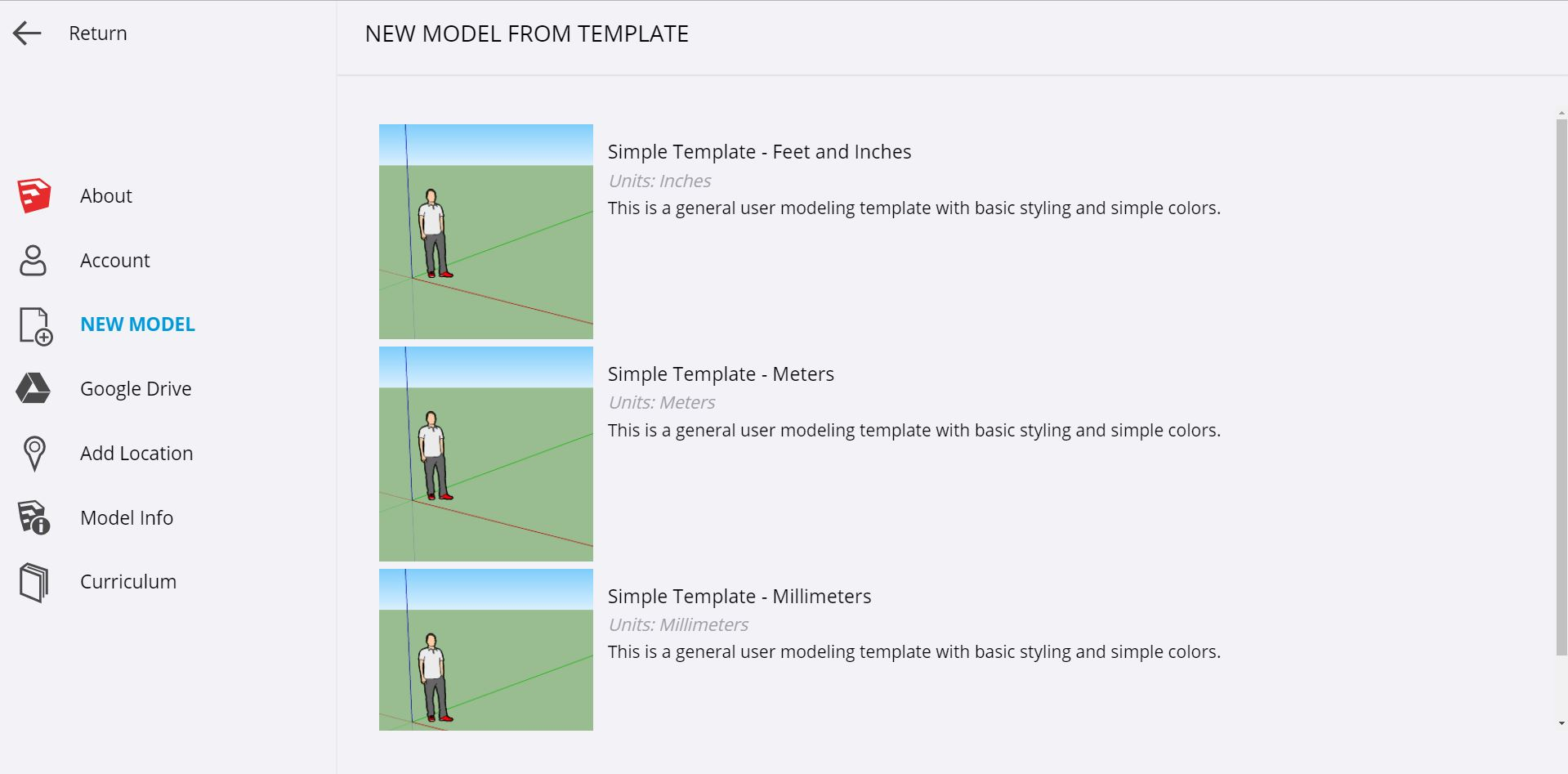 Select a template to begin creating a new model in SketchUp for Schools