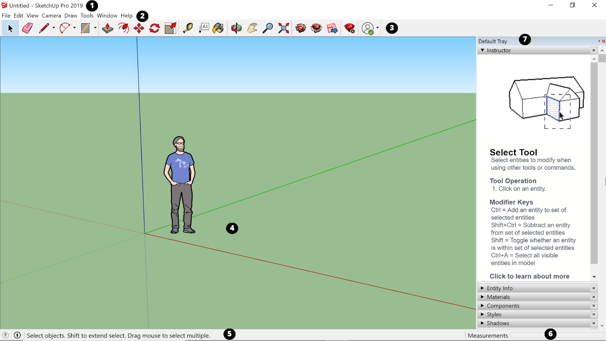 SketchUp interface in Windows