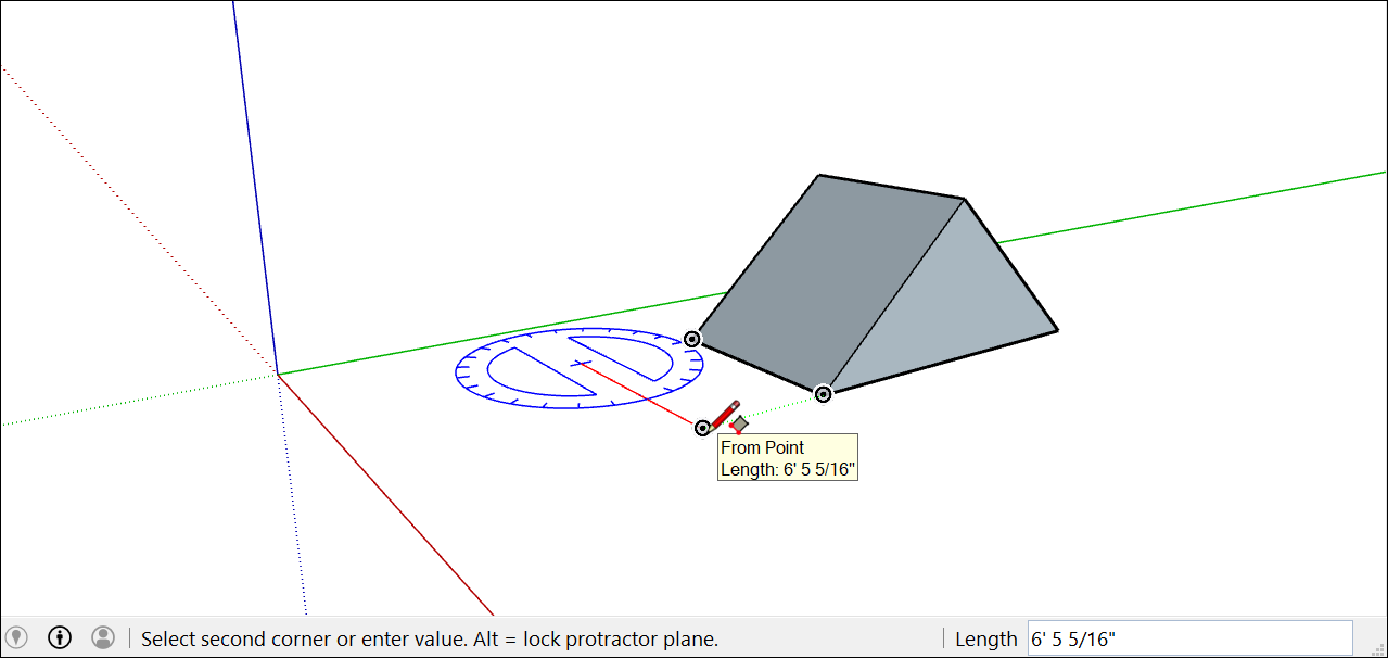 Create the first edge of a rotated rectangle in SketchUp