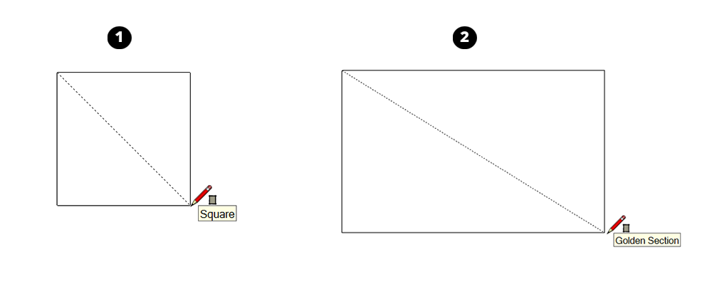 When you draw a rectangle in SketchUp, the inference engine tells you when your rectangle is a square or golden section