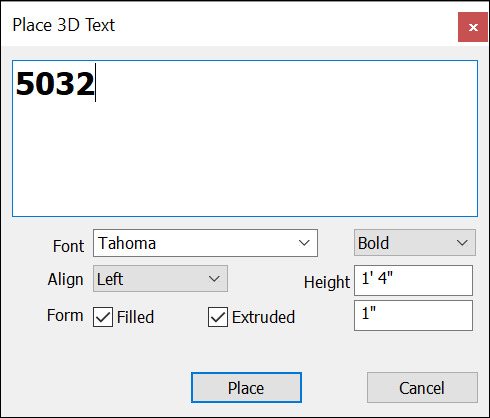 Place 3D Text dialog box