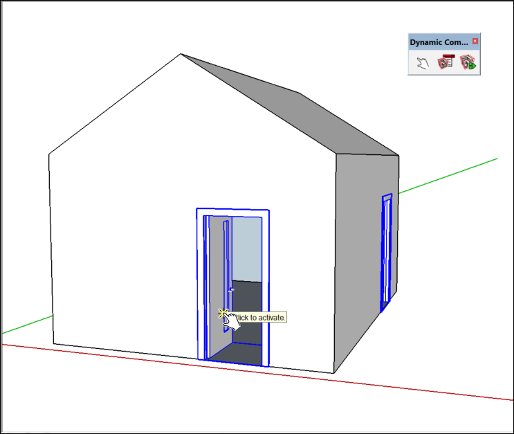 When you click the door with the Interact tool cursor the door opens as shown in the following figure.  sc 1 st  SketchUp Knowledge Base & Adding Premade Components and Dynamic Components | SketchUp Help