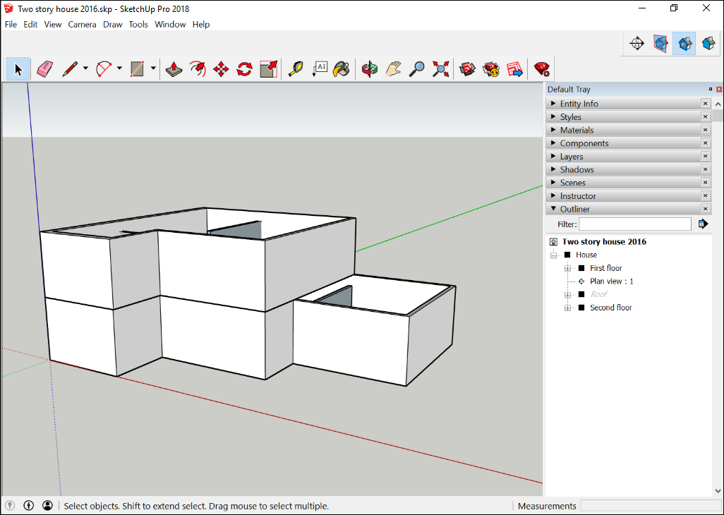 In SketchUp's interface, open the Outliner panel see the hierarchy of groups, components, and section planes.