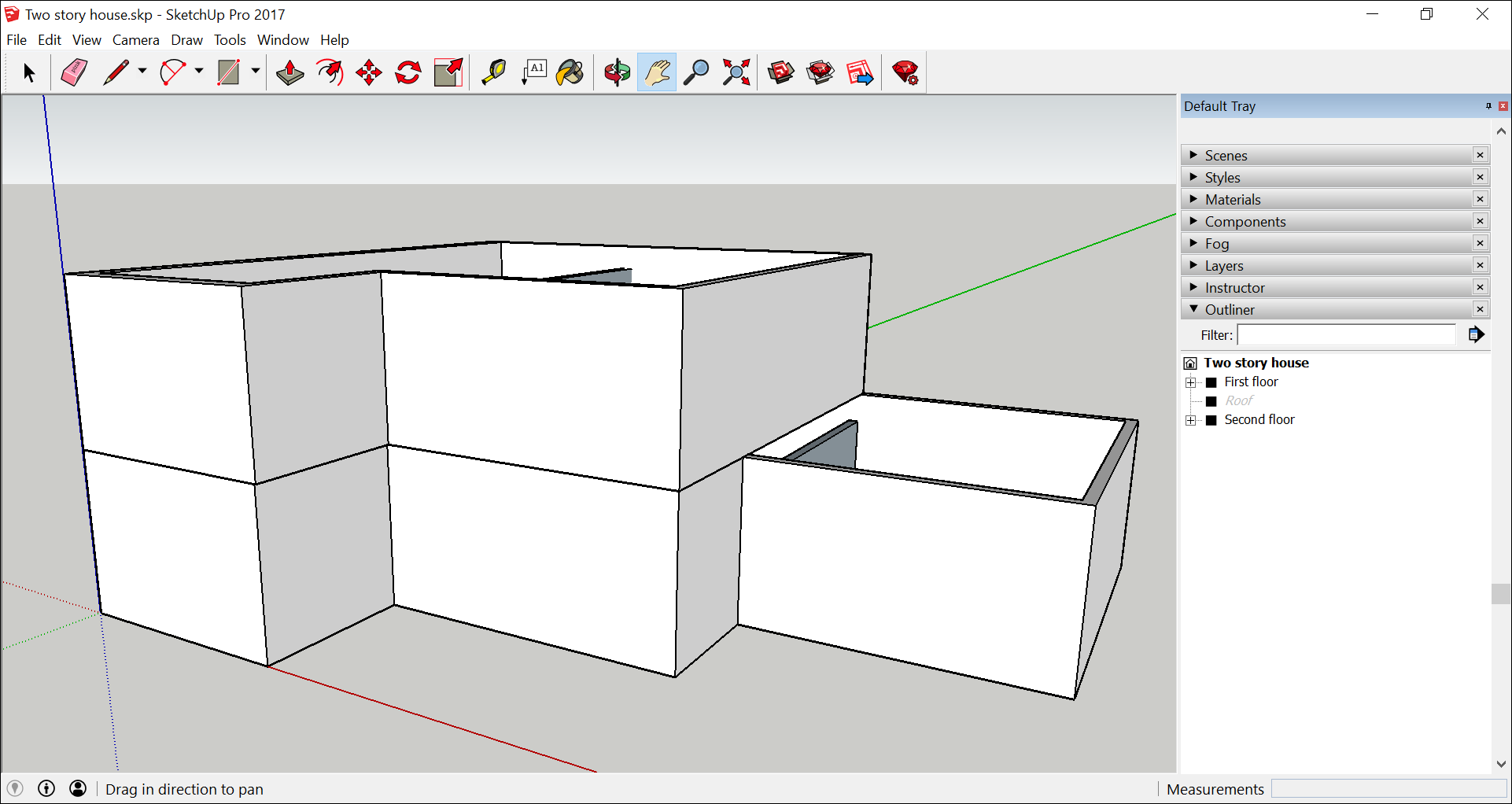 In SketchUp's interface, open the Outliner panel to see the hierarchy of groups and components.