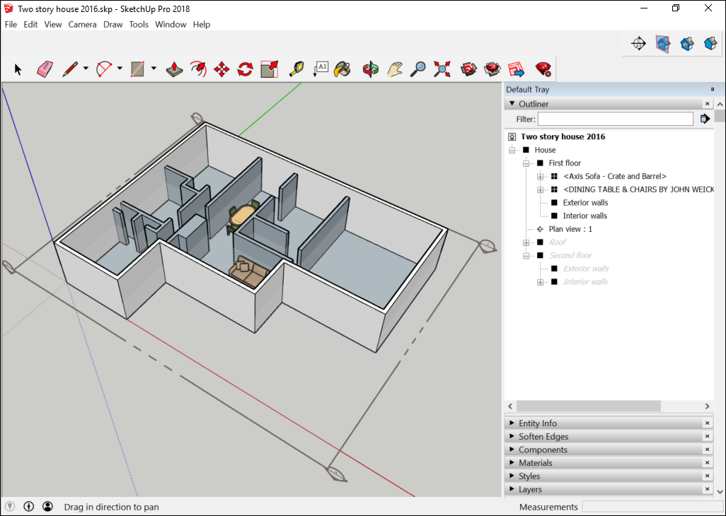 In the SketchUp Outliner, you can hide a group, component, or section plane