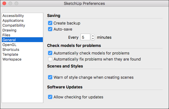SketchUp Preferences General Panel