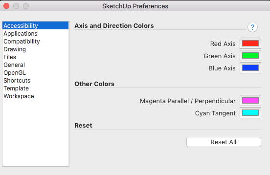SketchUp enables people who experience color blindness to change the axis and inference colors