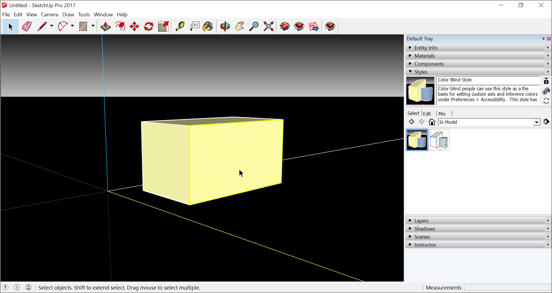 In SketchUp, apply the Color Blind style and customize axes colors to improve visibility of onscreen 3D modeling cues.