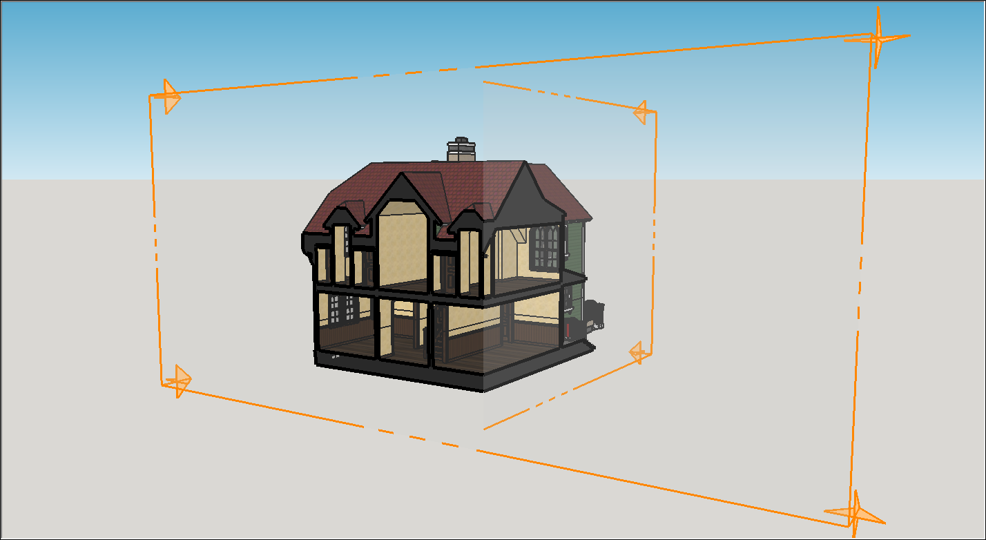 A house with two section planes; each plane is in a separate context so that they can both be the active cut in their respective context.