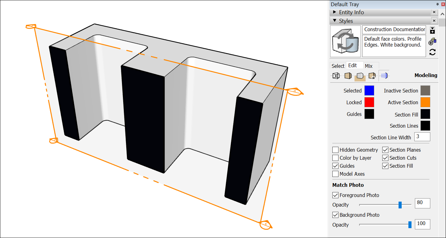 After you slice a model with a section plan, a section fill can simulate solid material within closed loops.