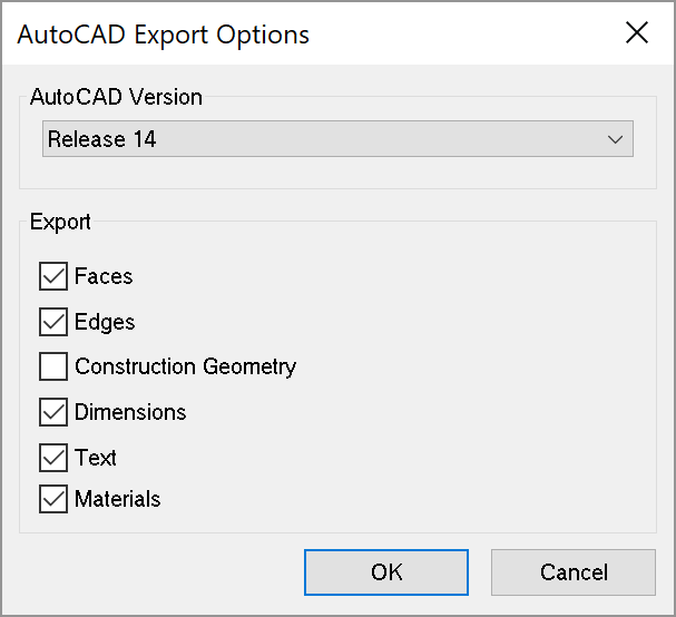Options for exporting a 3D CAD file from SketchUp for Microsoft Windows