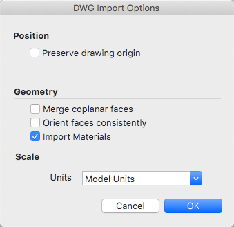 SketchUp Pro CAD import options for Mac OS X
