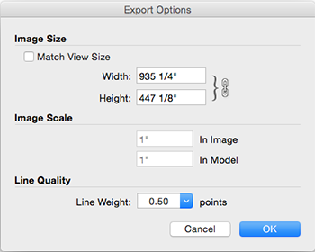 In SketchUp for Mac OS X, the EPS and PDF Export Options dialog boxes offer the same options