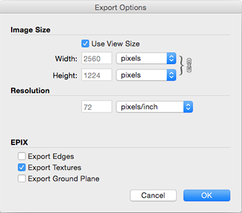 SketchUps Export Options dialog box for EPix in Mac OS X