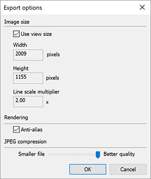 SketchUps Export JPEG Options dialog box in Microsoft Windows